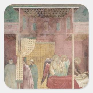 St Francis cura al hombre herido de Lerida Pegatina Cuadrada