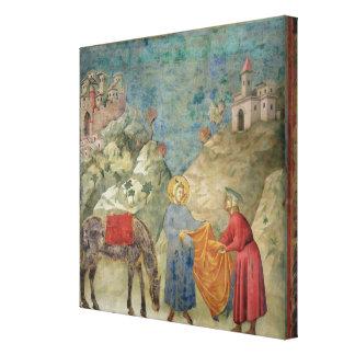 St Francis da su capa a un extranjero Lona Envuelta Para Galerias