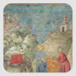 St Francis da su capa a un extranjero Pegatina Cuadradas Personalizadas