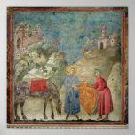 St Francis da su capa a un extranjero Póster