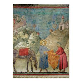 St Francis da su capa a un extranjero Postal