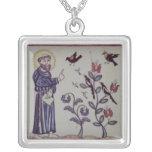 St Francis de Assisi con el pájaro Colgante Cuadrado
