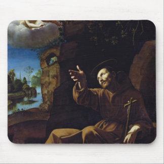 St Francis de Assisi consoló por un ángel Mousepads