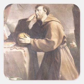 St Francis de Assisi en el rezo Pegatina Cuadrada