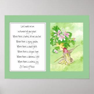 St Francis de Assisi, flor del colibrí del rezo Póster