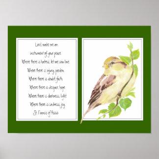 St Francis de Assisi, pájaro del gorrión del rezo Poster
