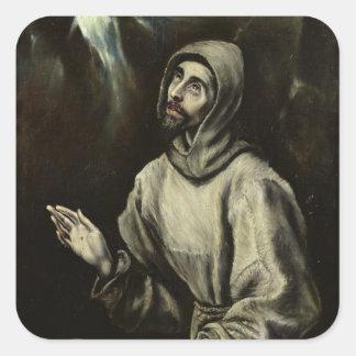 St Francis de Assisi Pegatina Cuadrada