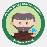 St Francis de Assisi Pegatina Redonda