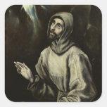 St Francis de Assisi Pegatinas Cuadradas