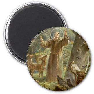 St Francis de Assisi que predica a los animales Imán Redondo 5 Cm