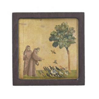 St Francis de Assisi que predica a los pájaros Cajas De Recuerdo De Calidad