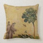 St Francis de Assisi que predica a los pájaros Cojin