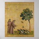 St Francis de Assisi que predica a los pájaros Posters