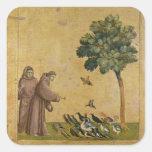 St Francis de Assisi que predica a los pájaros Calcomania Cuadradas Personalizada