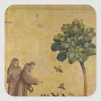 St Francis de Assisi que predica a los pájaros Pegatina Cuadrada