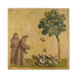 St Francis de Assisi que predica a los pájaros Posavasos De Arce