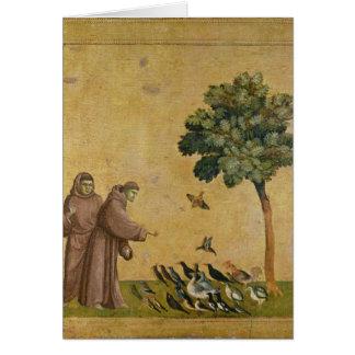 St Francis de Assisi que predica a los pájaros Tarjeta De Felicitación