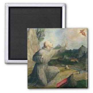 St Francis de Assisi que recibe los estigmas Imán Cuadrado