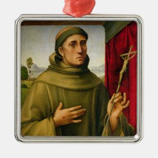 St Francis de Assissi, c.1490 (tempera en el Adorno Navideño Cuadrado De Metal
