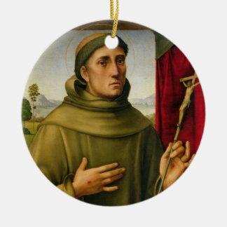 St Francis de Assissi, c.1490 (tempera en el Adorno Navideño Redondo De Cerámica