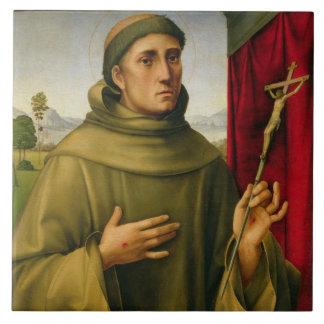 St Francis de Assissi, c.1490 (tempera en el panel Azulejo Cuadrado Grande