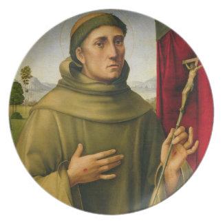 St Francis de Assissi, c.1490 (tempera en el panel Plato