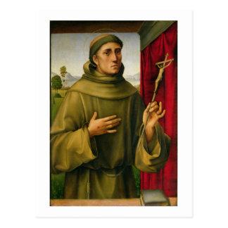 St Francis de Assissi c 1490 tempera en el panel Postal