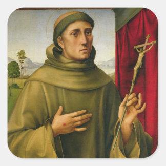 St Francis de Assissi, c.1490 (tempera en el Pegatina Cuadrada