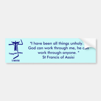 St Francis de la cita de Assisi Etiqueta De Parachoque