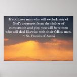 St Francis de la cita de Assisi sobre los derechos Impresiones