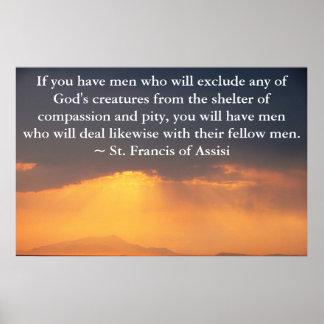 St Francis de la cita de Assisi sobre los derechos Póster