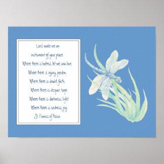 St Francis de la libélula del azul del rezo de Ass Póster