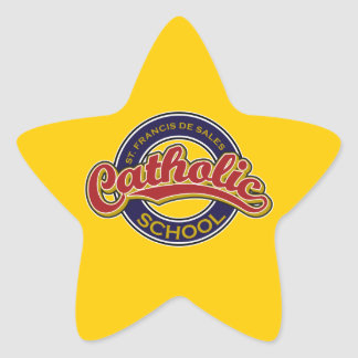 St. Francis De Sales Catholic School Red on Blue Star Sticker
