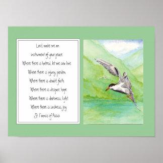 St Francis del pájaro común de la golondrina de ma Póster