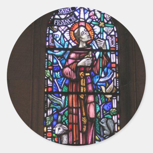 St Francis del vitral de Assisi Pegatina Redonda