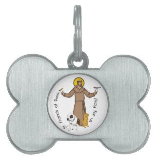 St Francis Dog Bone Shaped Pet Protection Tag Pet Tag
