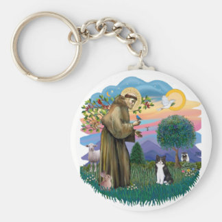 St Francis (ff) - Black and white cat Basic Round Button Keychain