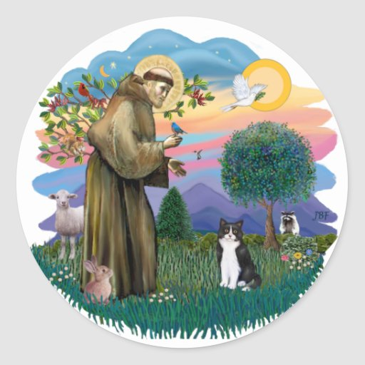 St Francis (ff) - Black and white cat Classic Round Sticker
