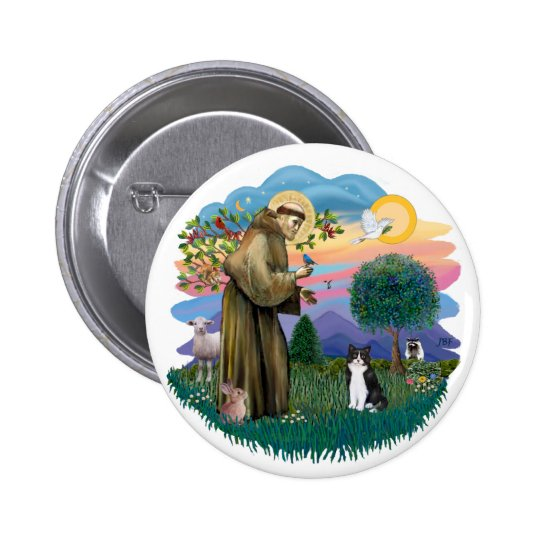 St Francis (ff) - Black and white cat Pinback Button