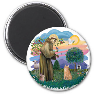 St Francis (ff) - Orange Tabby cat Refrigerator Magnet