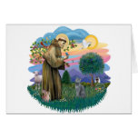 St Francis (ff) - Russian Blue cat Greeting Cards