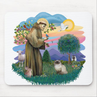 St Francis (ff) - Seal Point Himalayan cat Mouse Pad