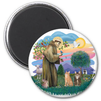 St Francis (ff) - Two Tabby cats 2 Inch Round Magnet