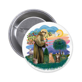 St Francis (ff) - Two Tabby cats 2 Inch Round Button