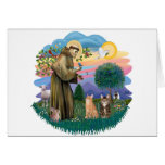 St Francis (ff) - Two Tabby cats Card