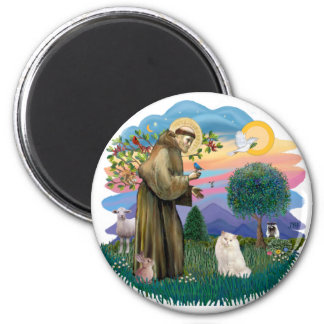 St Francis (ff) - White Persian cat 2 Inch Round Magnet