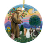 St Francis - Five Cats (AmSH) Christmas Ornaments