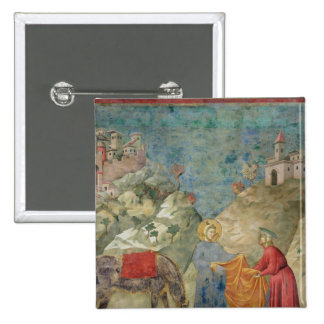 St. Francis Gives his Coat to a Stranger 2 Inch Square Button