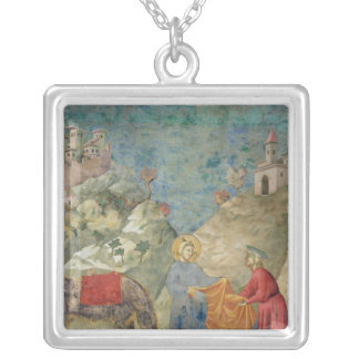 St. Francis Gives his Coat to a Stranger Silver Plated Necklace