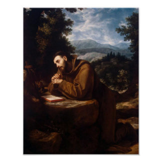 St Francis in Prayer Poster